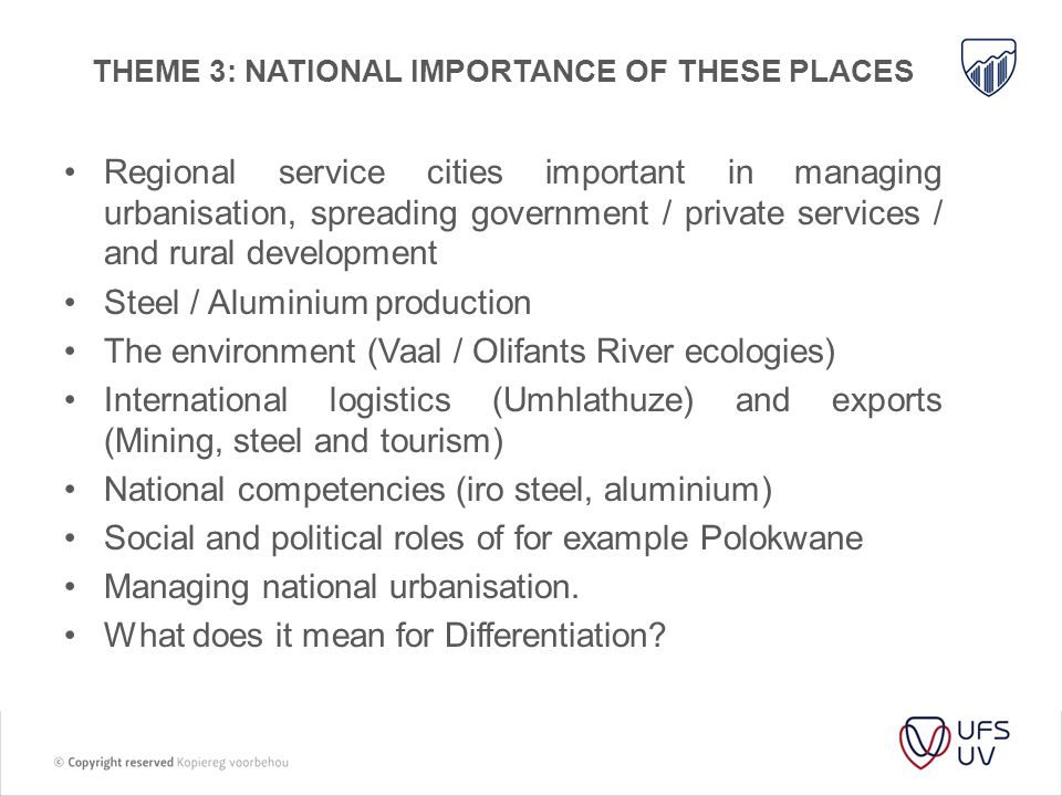 THEME 3: NATIONAL IMPORTANCE OF THESE PLACES Regional service cities important in managing urbanisation, spreading government / private services / and