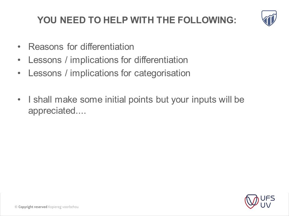 Themes / rationale for a differentiated approach Interm.