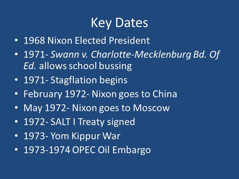 Key Dates 1968 Nixon Elected President 1971- Swann v.