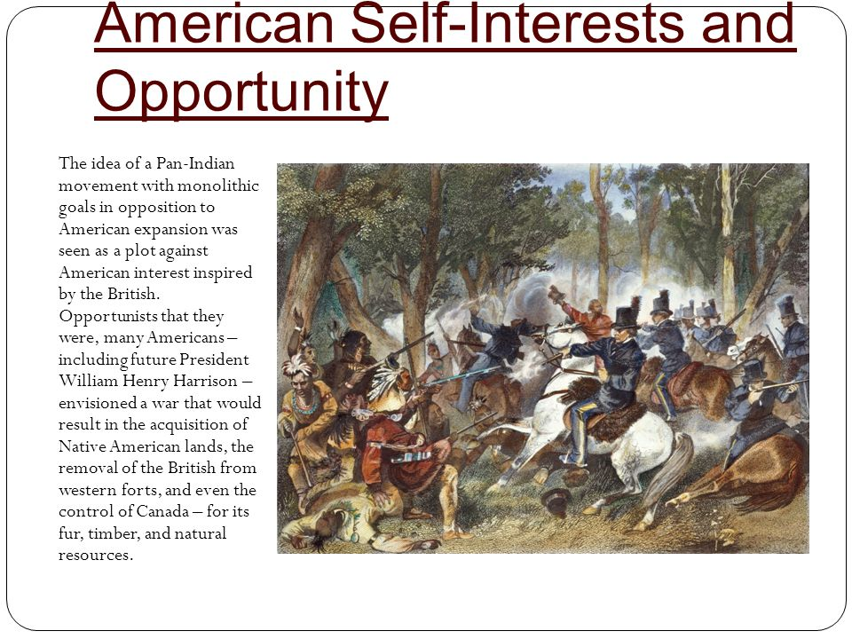 American Self-Interests and Opportunity The idea of a Pan-Indian movement with monolithic goals in opposition to American expansion was seen as a plot