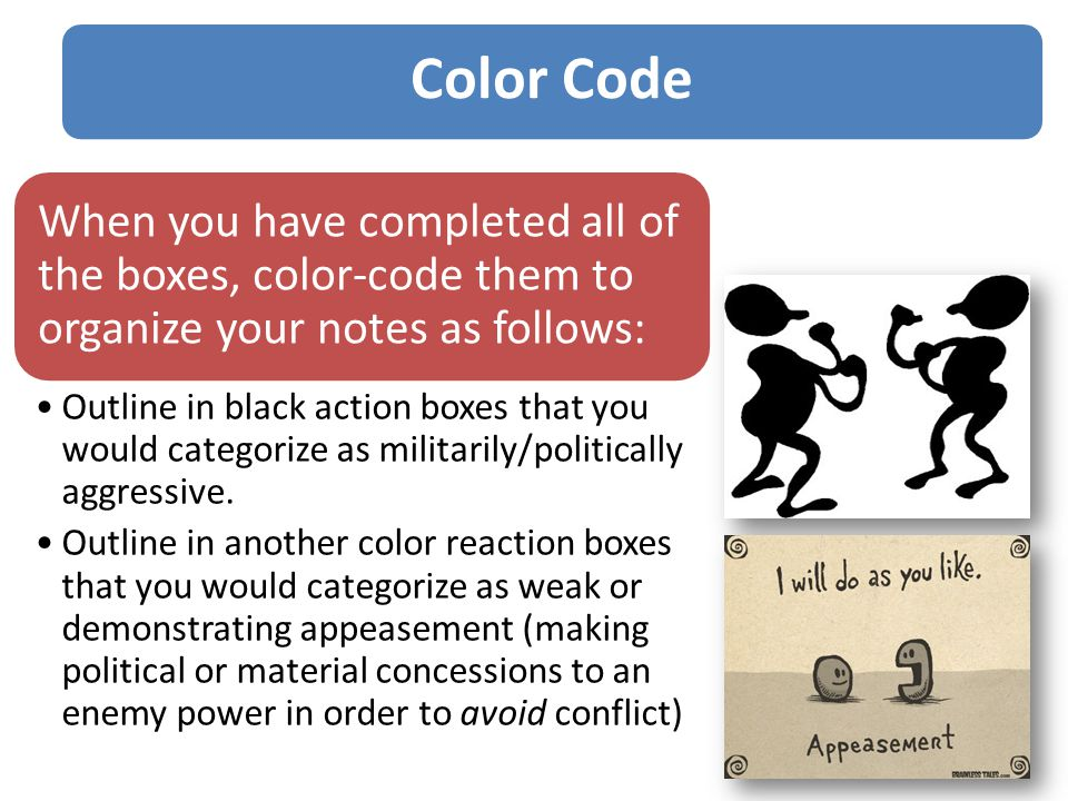 When you have completed all of the boxes, color-code them to organize your notes as follows: Outline in black action boxes that you would categorize as militarily/politically aggressive.