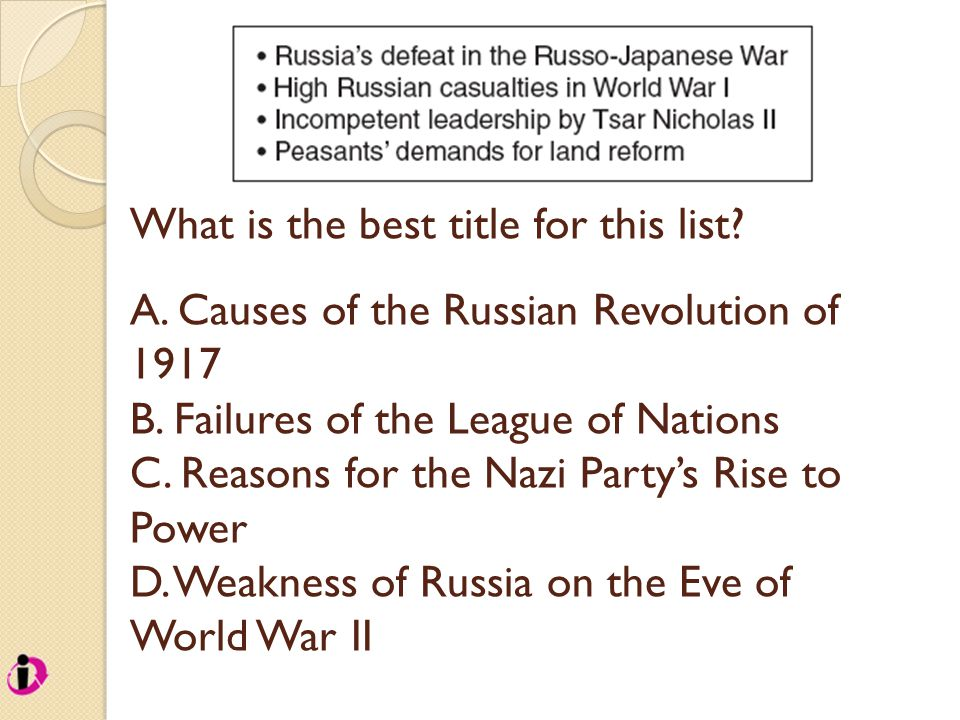 What is the best title for this list.A. Causes of the Russian Revolution of 1917 B.