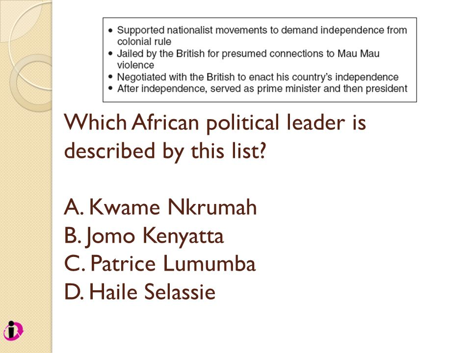 Which African political leader is described by this list.