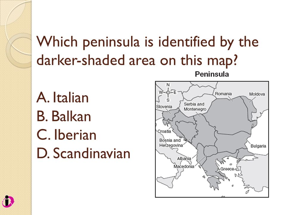 Which peninsula is identified by the darker-shaded area on this map.