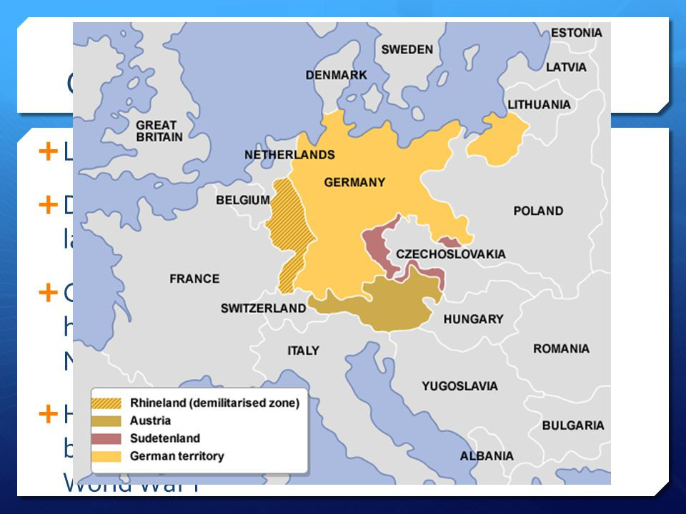 Germany  Leader: Adolf Hitler (Chancellor)  Drive: Hitler wanted to gain back former land lost in WWI.  Germany also needed natural resources and h
