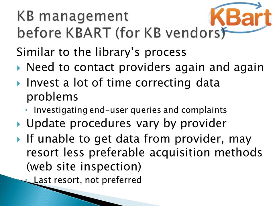 Similar to the library's process  Need to contact providers again and again  Invest a lot of time correcting data problems ◦ Investigating end-user
