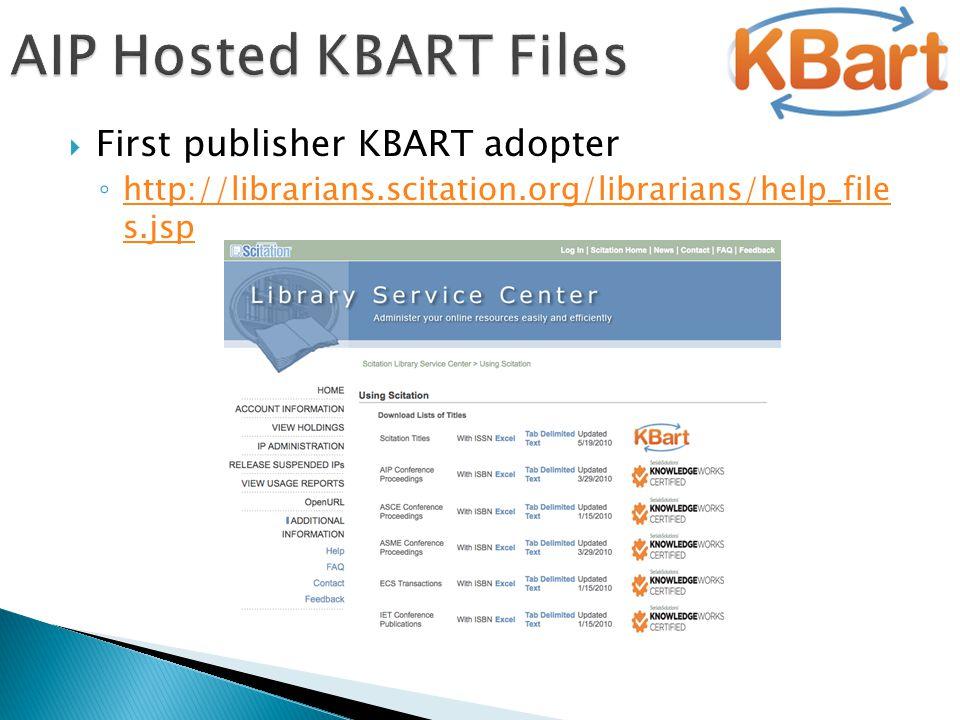  First publisher KBART adopter ◦ http://librarians.scitation.org/librarians/help_file s.jsp http://librarians.scitation.org/librarians/help_file s.js