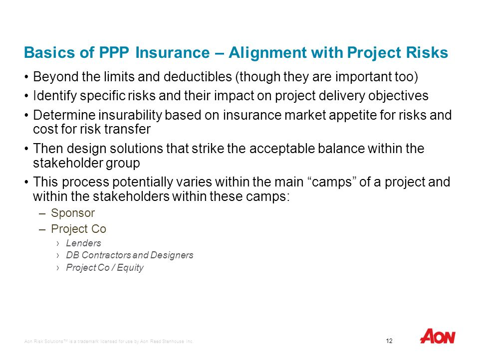 Aon Risk Solutions™ is a trademark licensed for use by Aon Reed Stenhouse Inc. 12 Infrastructure Ontario Basics of PPP Insurance – Alignment with Proj