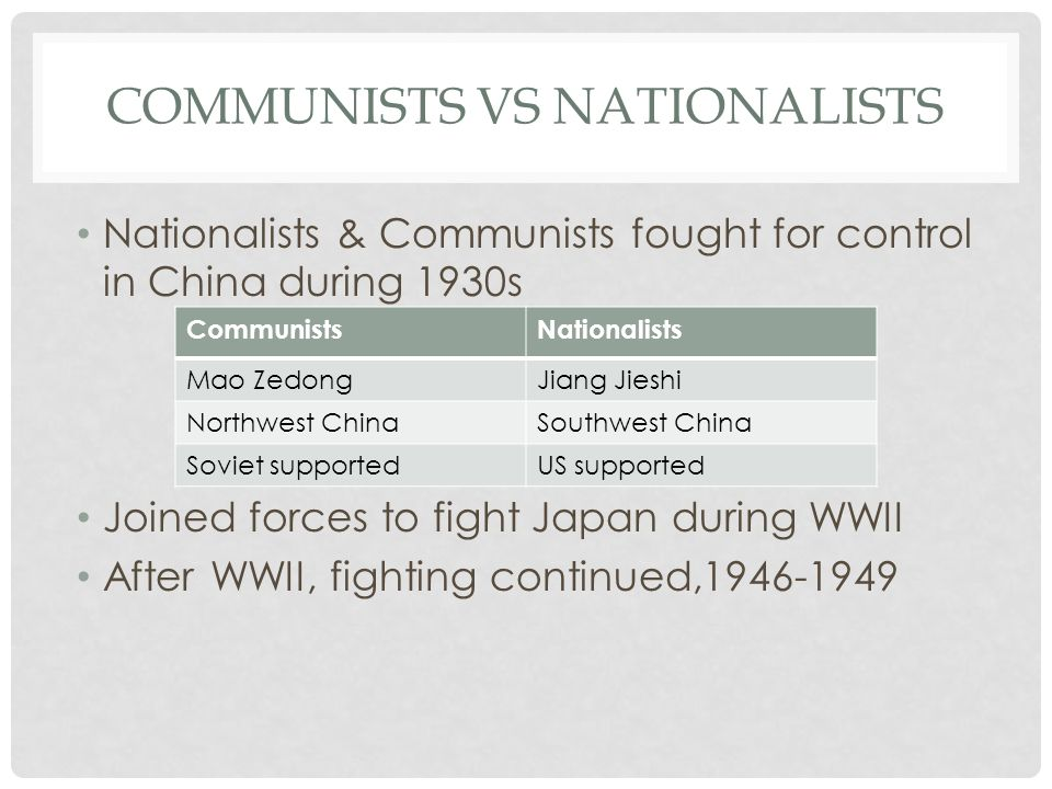 COMMUNISTS VS NATIONALISTS Nationalists & Communists fought for control in China during 1930s Joined forces to fight Japan during WWII After WWII, fig