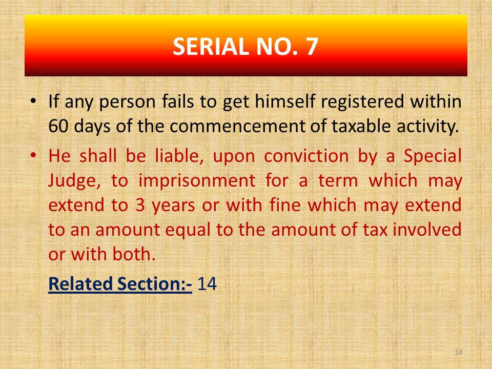 If any person fails to get himself registered within 60 days of the commencement of taxable activity.