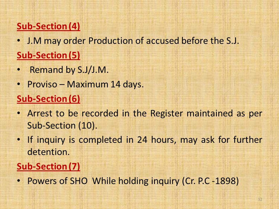 Sub-Section (4) J.M may order Production of accused before the S.J.