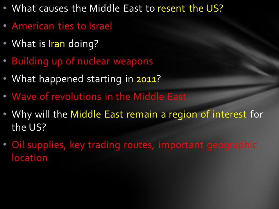 What causes the Middle East to resent the US. American ties to Israel What is Iran doing.