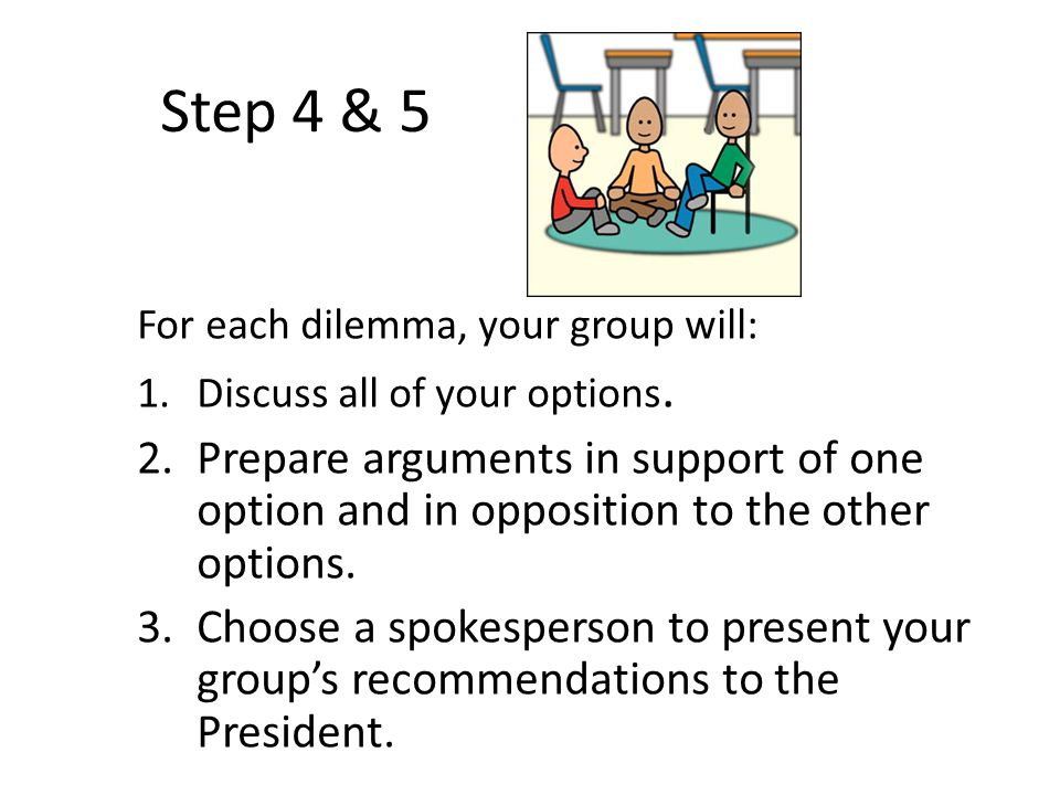 Step 4 & 5 For each dilemma, your group will: 1.Discuss all of your options. 2.Prepare arguments in support of one option and in opposition to the oth