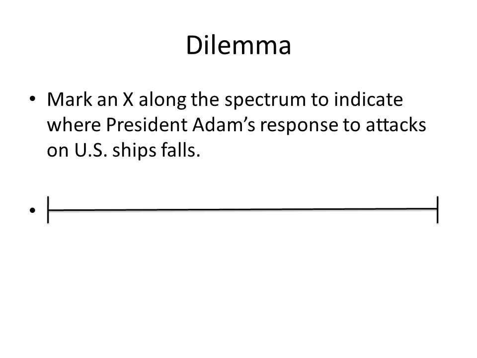 Dilemma Mark an X along the spectrum to indicate where President Adam's response to attacks on U.S. ships falls.