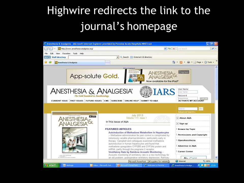 Highwire redirects the link to the journal's homepage
