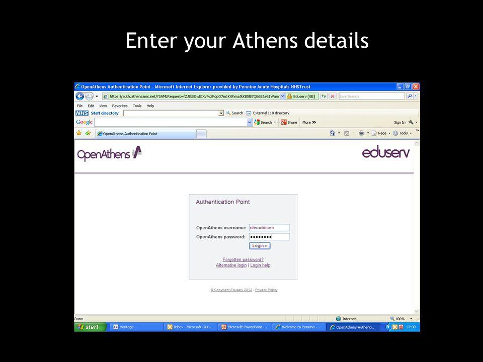 Enter your Athens details