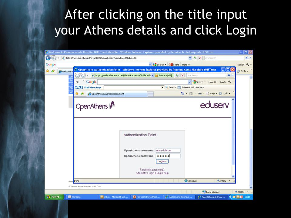 After clicking on the title input your Athens details and click Login
