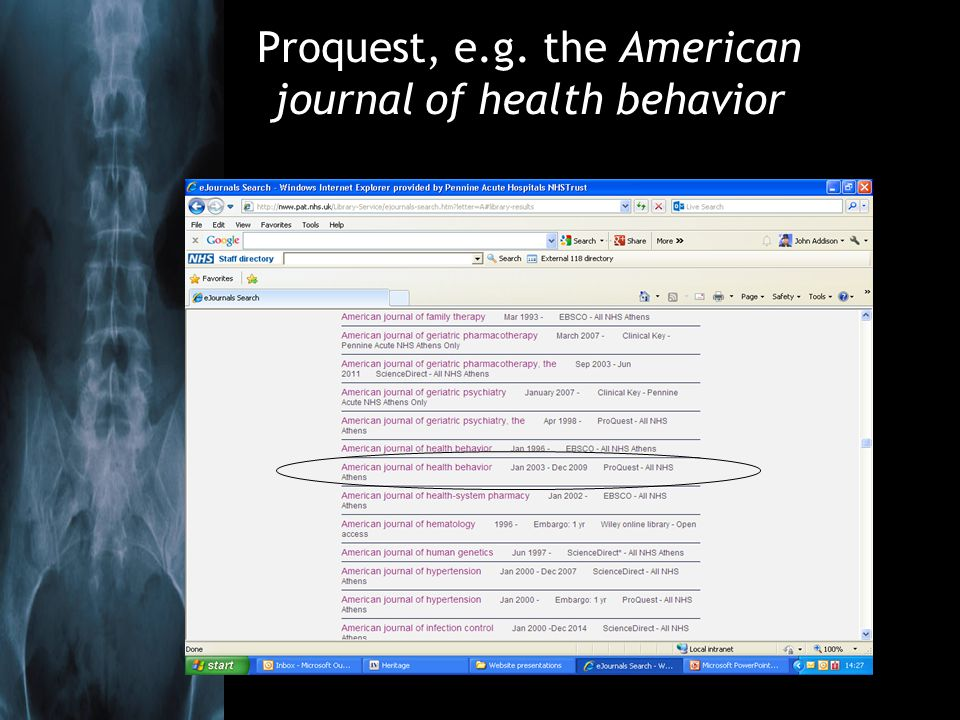 Proquest, e.g. the American journal of health behavior