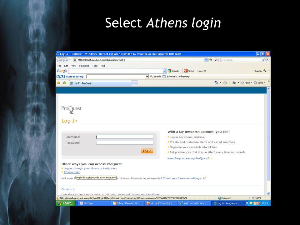 Select Athens login