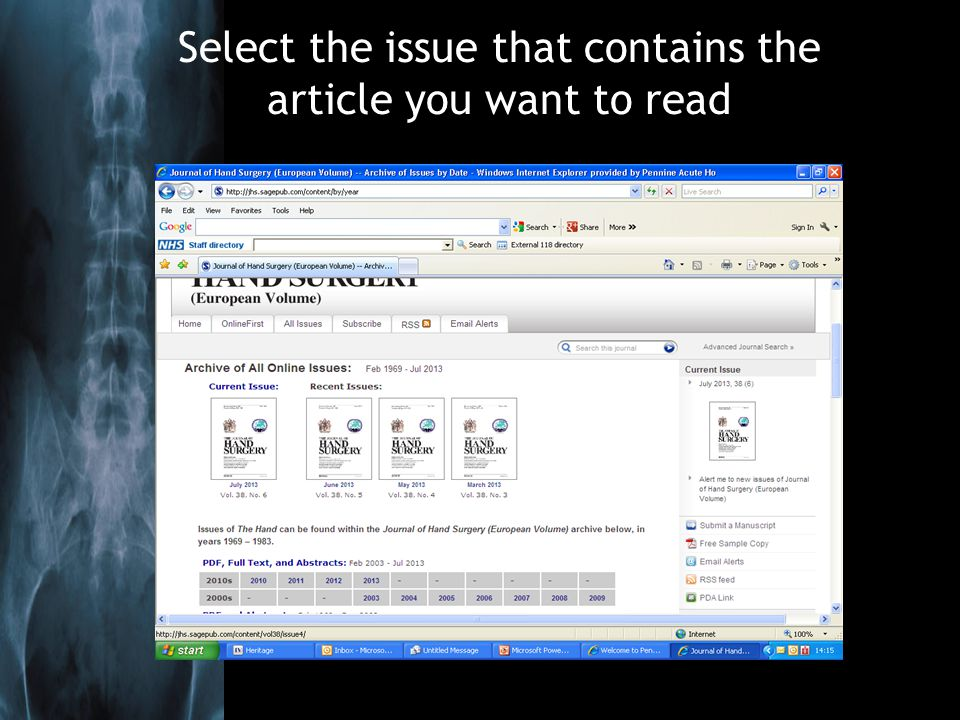 Select the issue that contains the article you want to read