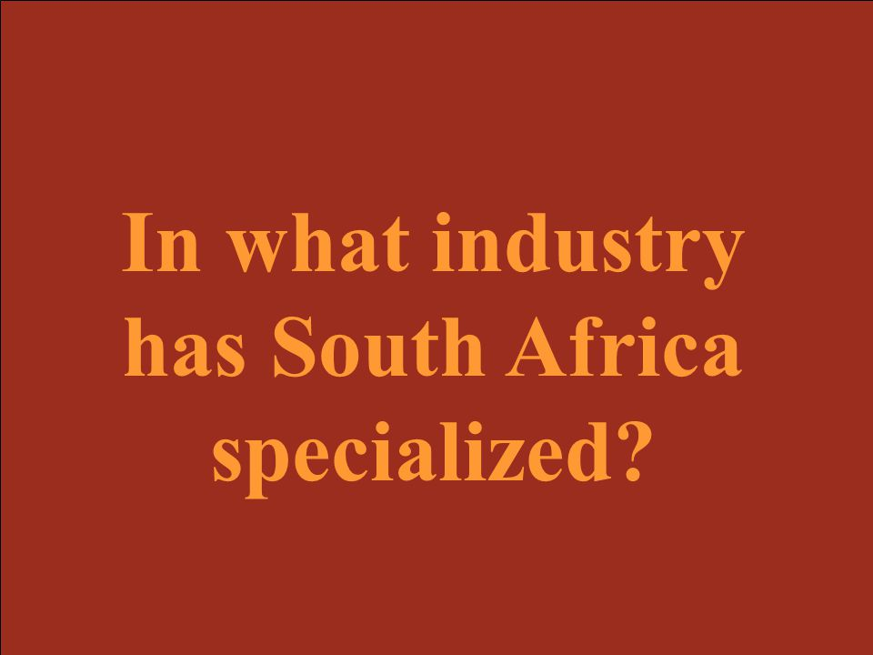 In what industry has South Africa specialized