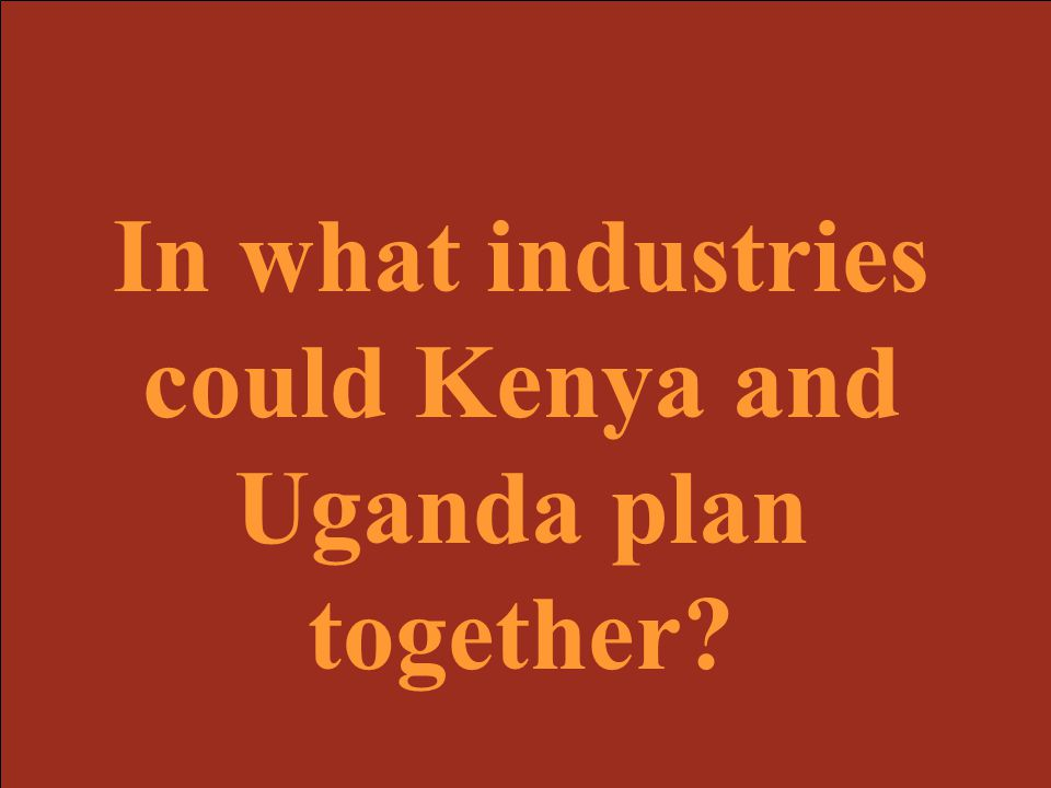 In what industries could Kenya and Uganda plan together