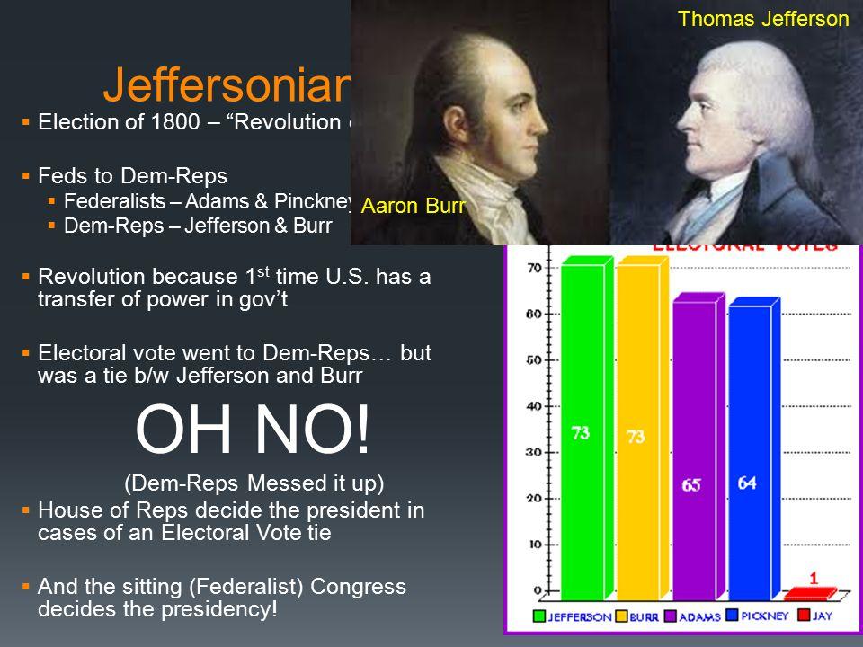 Jeffersonian Era: Chapter 8  Election of 1800 – Revolution of 1800  Feds to Dem-Reps  Federalists – Adams & Pinckney  Dem-Reps – Jefferson & Burr  Revolution because 1 st time U.S.