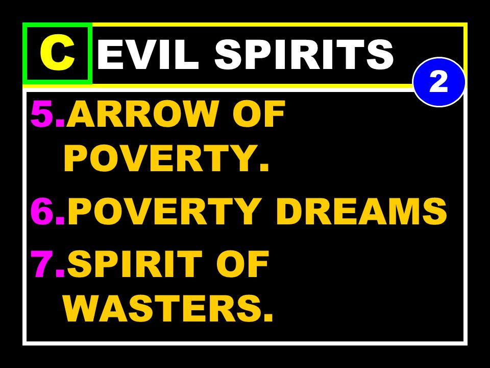 EVIL SPIRITS 1.MARK OF POVERTY. 2.CHAINS OF POVERTY. 3.CAGE OF POVERTY 4.POT OF POVERTY. C 1