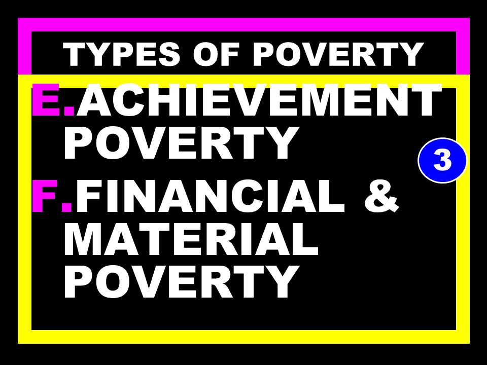 TYPES OF POVERTY C.SOCIAL POVERTY D.PHYSICAL POVERTY 2