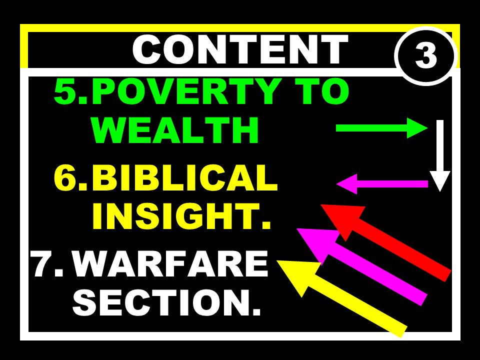 CONTENT 4.CAUSES OF FINANCIAL POVERTY; a)PHYSICAL CAUSES. b)SPIRITUAL CAUSES. 2