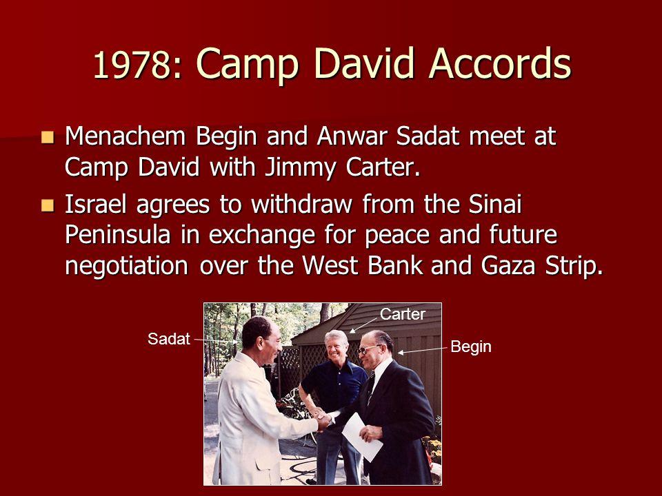 1978: Camp David Accords Menachem Begin and Anwar Sadat meet at Camp David with Jimmy Carter.