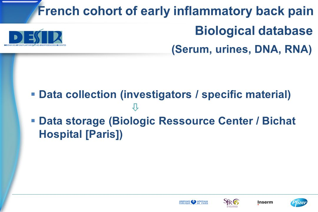 French cohort of early inflammatory back pain Biological database  Data collection (investigators / specific material)   Data storage (Biologic Ressource Center / Bichat Hospital [Paris]) (Serum, urines, DNA, RNA)