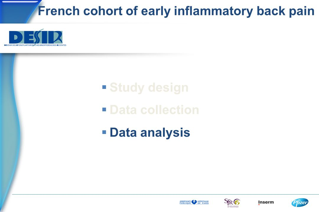 French cohort of early inflammatory back pain  Study design  Data collection  Data analysis