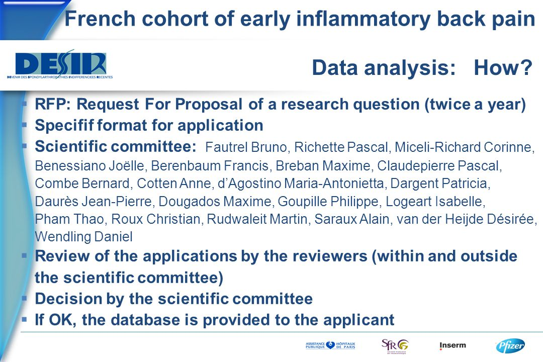 French cohort of early inflammatory back pain Data analysis: How.