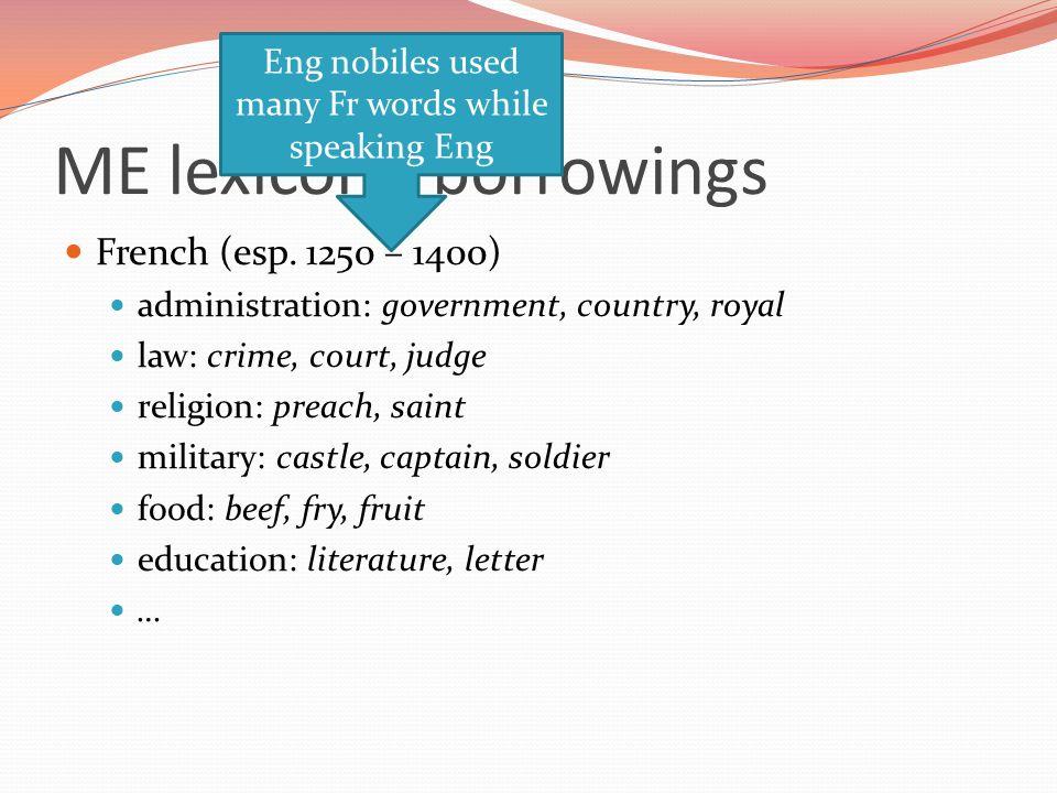 ME lexicon - borrowings French (esp.