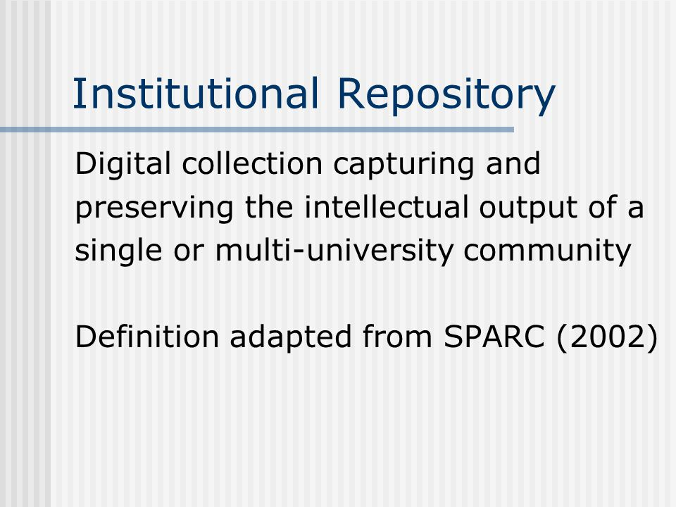 Session Aims The project Implementing an Institutional Repository for Leeds Metropolitan University Open Access – An overview Institutional Repositories Demonstration of a live IR Benefits of OA and IRs Objections to OA and IRs How you can contribute A discussion forum