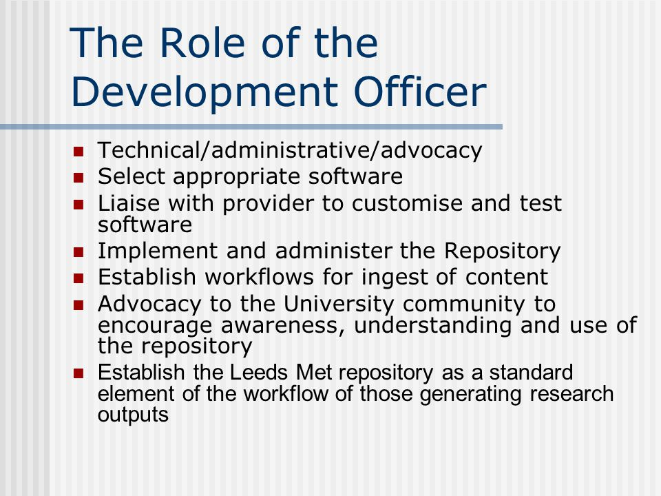 Benchmarking Consortium University of Derby – currently no repository University of Huddersfield – Repository in use University of Huddersfield Liverpool John Moores – Repository in use Liverpool John Moores University of Liverpool – Pilot project; full rollout 2008 University of Liverpool University of Salford – Repository under development University of Salford Staffordshire University – Repository under development Staffordshire University