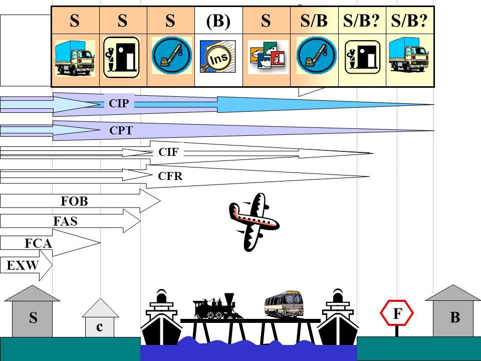 c S B EXW F FAS FOB CPT D-clauses CIP S/B? S/BSSSSS Ins S/B? S/BS(B)SSS Ins FCA CIF CFR
