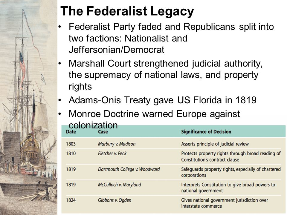The Federalist Legacy Federalist Party faded and Republicans split into two factions: Nationalist and Jeffersonian/Democrat Marshall Court strengthene