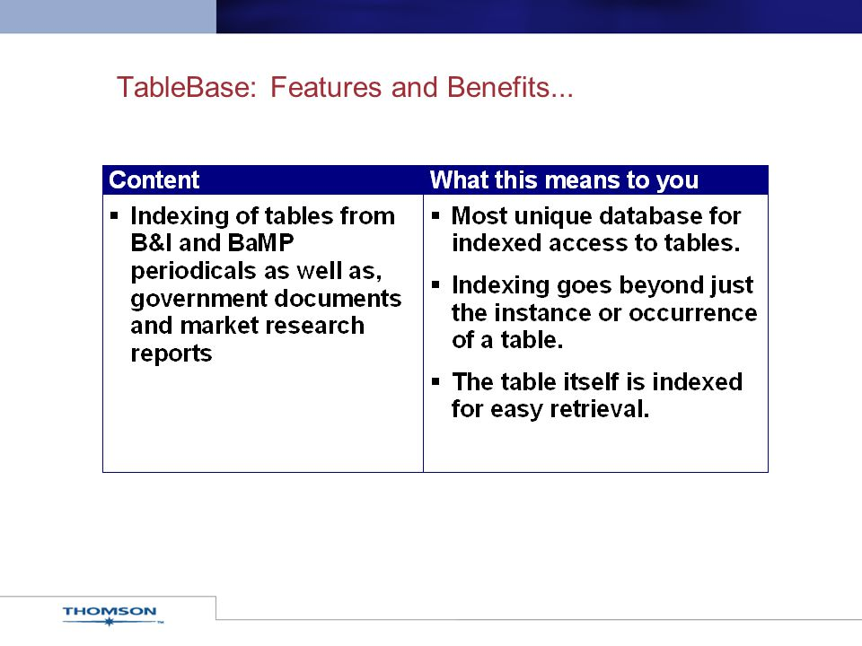 TableBase: Features and Benefits...
