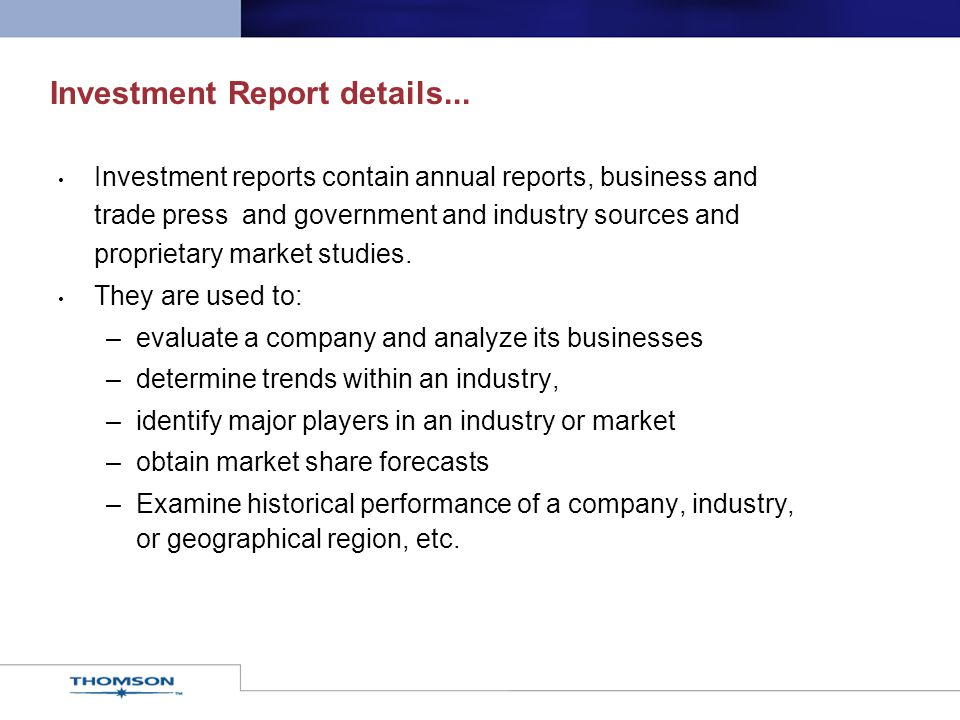 Investment Report details...