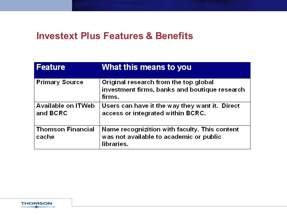 Investext Plus Features & Benefits