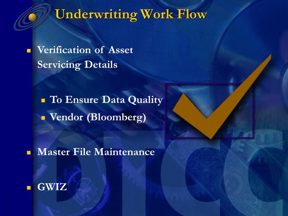 5593R- 12 n Verification of Asset Servicing Details n To Ensure Data Quality n Vendor (Bloomberg) n Master File Maintenance n GWIZ Underwriting Work Flow