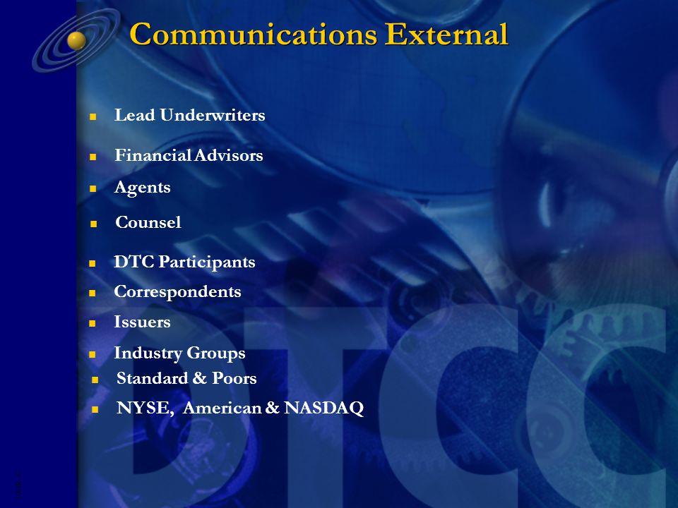 5593R- 13 Communications External n Lead Underwriters n Financial Advisors n Agents n Counsel n DTC Participants n Correspondents n Issuers n Industry Groups n Standard & Poors n NYSE, American & NASDAQ