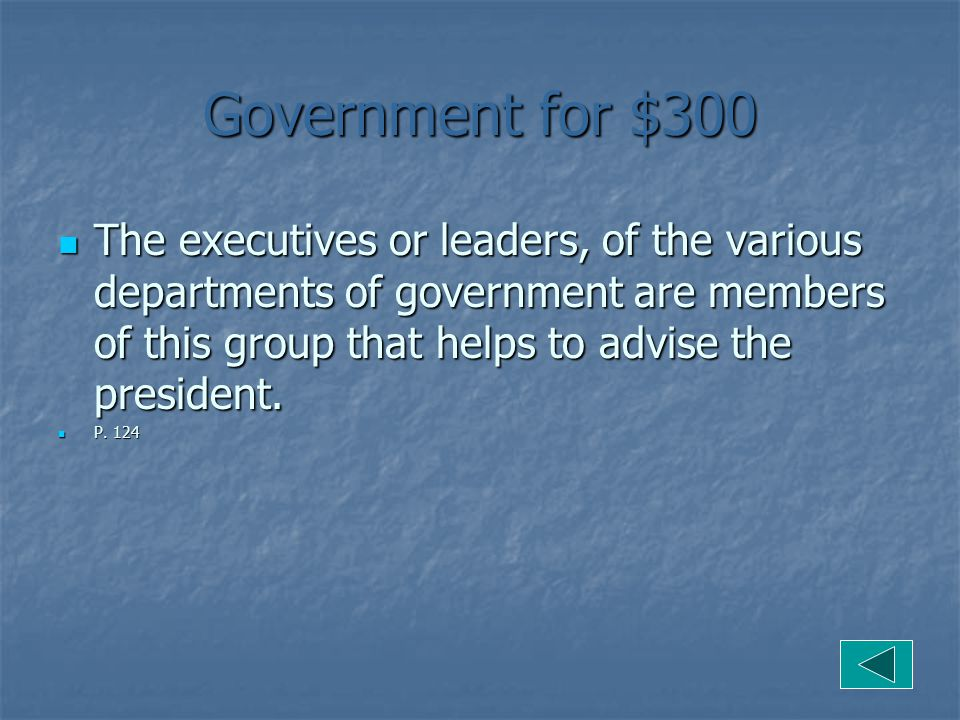 Government for $300 The executives or leaders, of the various departments of government are members of this group that helps to advise the president.