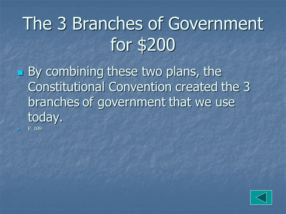 The 3 Branches of Government for $200 By combining these two plans, the Constitutional Convention created the 3 branches of government that we use today.