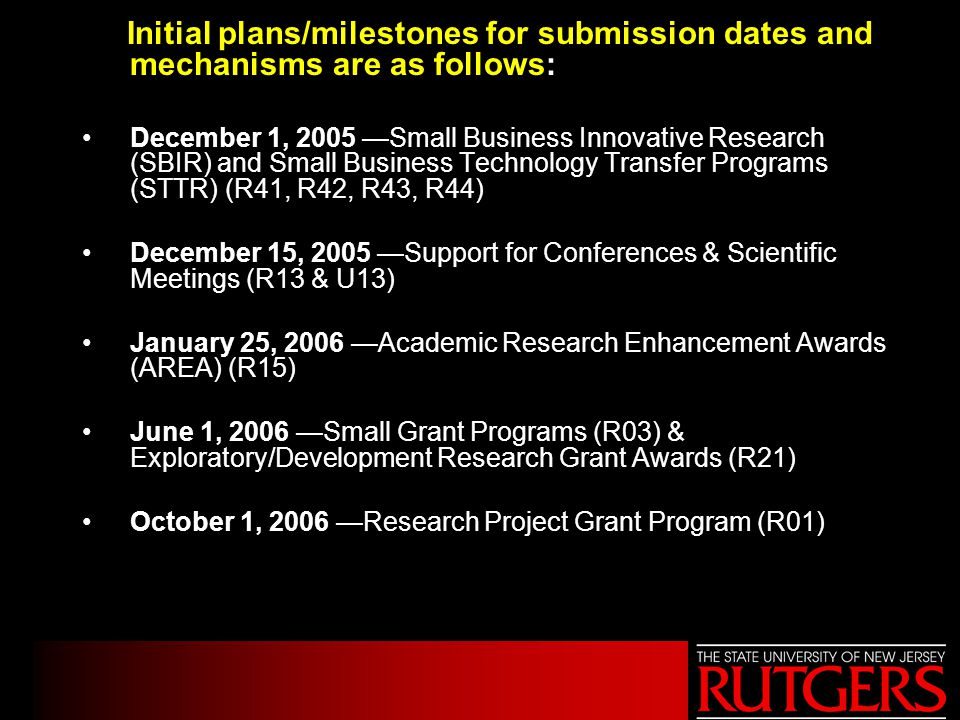 Initial plans/milestones for submission dates and mechanisms are as follows: December 1, 2005 —Small Business Innovative Research (SBIR) and Small Bus
