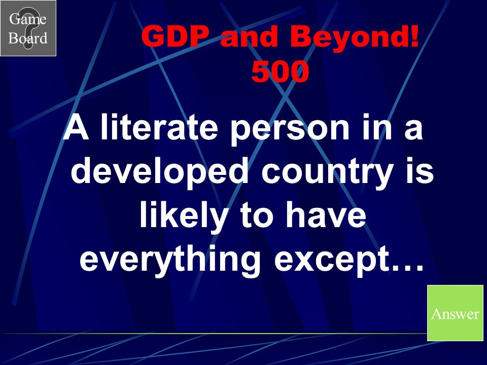 Game Board GDP and Beyond! 400A A.Entrepreneurship B.International Trade C.Specialization D.Voluntary Trade