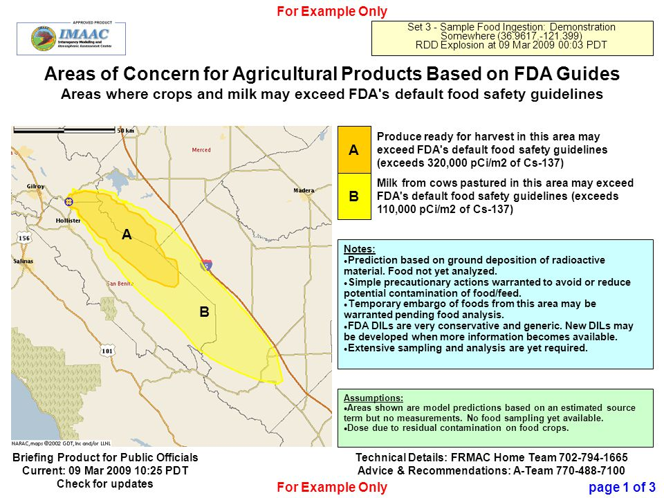 Official Use Only 15 Areas of Concern for Agricultural Products Based on FDA Guides Areas where crops and milk may exceed FDA s default food safety guidelines For Example Only Set 3 - Sample Food Ingestion: Demonstration Somewhere (36.9617,-121.399) RDD Explosion at 09 Mar 2009 00:03 PDT A Produce ready for harvest in this area may exceed FDA s default food safety guidelines (exceeds 320,000 pCi/m2 of Cs-137) B Milk from cows pastured in this area may exceed FDA s default food safety guidelines (exceeds 110,000 pCi/m2 of Cs-137) Notes: Prediction based on ground deposition of radioactive material.