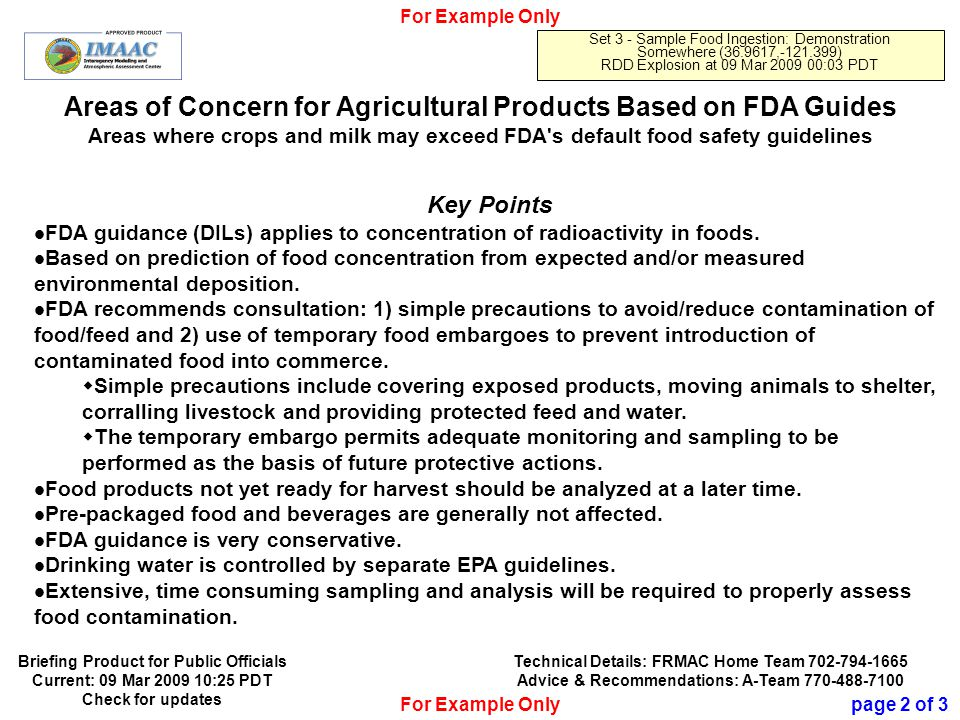 Official Use Only 17 Areas of Concern for Agricultural Products Based on FDA Guides Areas where crops and milk may exceed FDA s default food safety guidelines For Example Only Set 3 - Sample Food Ingestion: Demonstration Somewhere (36.9617,-121.399) RDD Explosion at 09 Mar 2009 00:03 PDT Key Points FDA guidance (DILs) applies to concentration of radioactivity in foods.